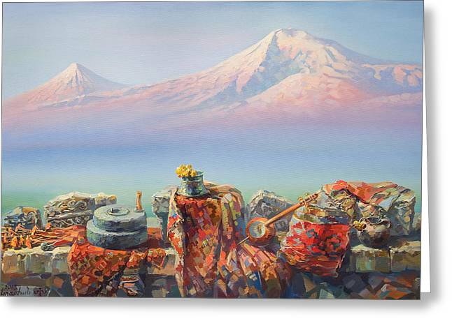 Armenia Greeting Cards - Soulful and colorful Ararat Greeting Card by Meruzhan Khachatryan