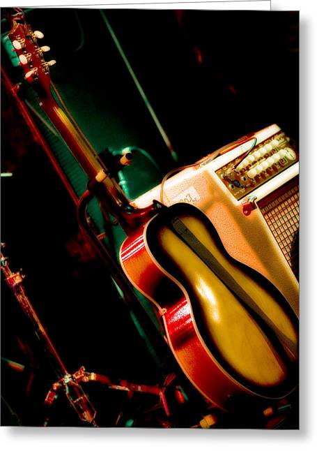 Microphone Stand Greeting Cards - Sound Check Done Greeting Card by Melinda Ledsome