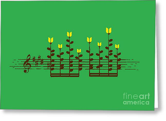 Music Notes Greeting Cards - Sound Garden Greeting Card by Budi Kwan