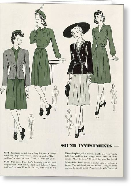Dress Patterns Greeting Cards - Sound Investments, C.1940 Greeting Card by .