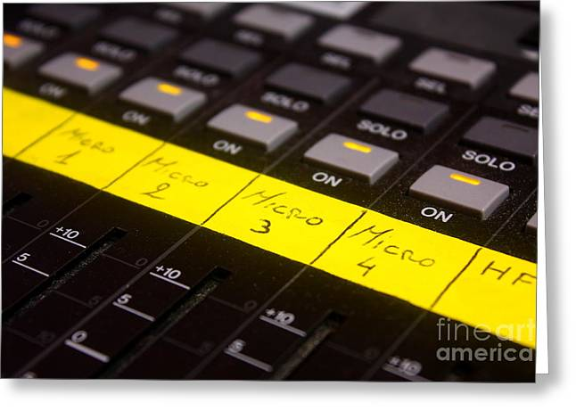 Labelled Greeting Cards - Sound mixer fader label Greeting Card by Gregory DUBUS