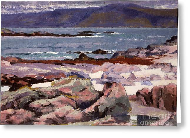 Headlands Greeting Cards - Sound of Iona  the Burg from the north shore Greeting Card by Francis Campbell Boileau Cadell