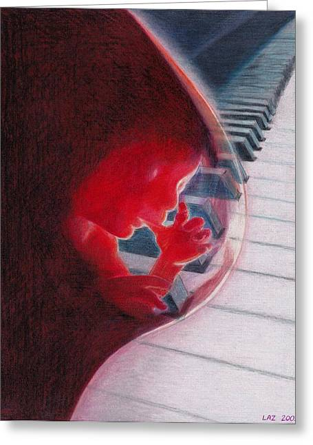 Embryo Drawings Greeting Cards - Sound of Life Greeting Card by Laszlo Csuti