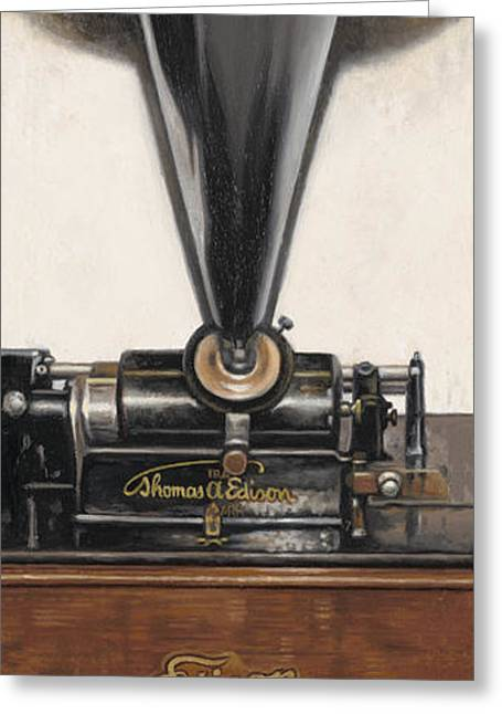 Edison Paintings Greeting Cards - Sound of Memories Greeting Card by Ron Crabb
