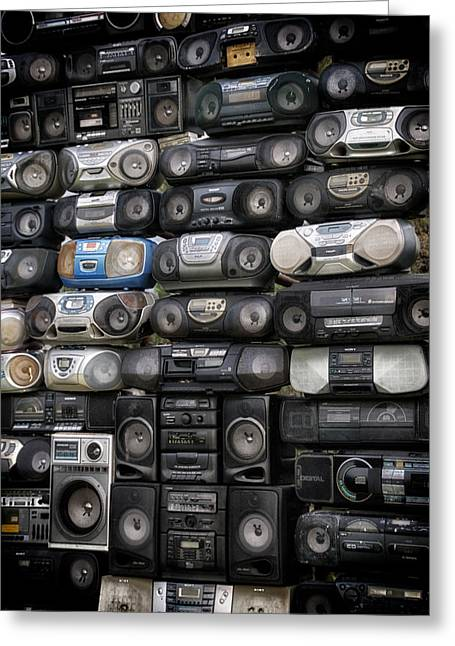 Vintage Boombox Greeting Cards - Sound Wall Greeting Card by Todd and candice Dailey