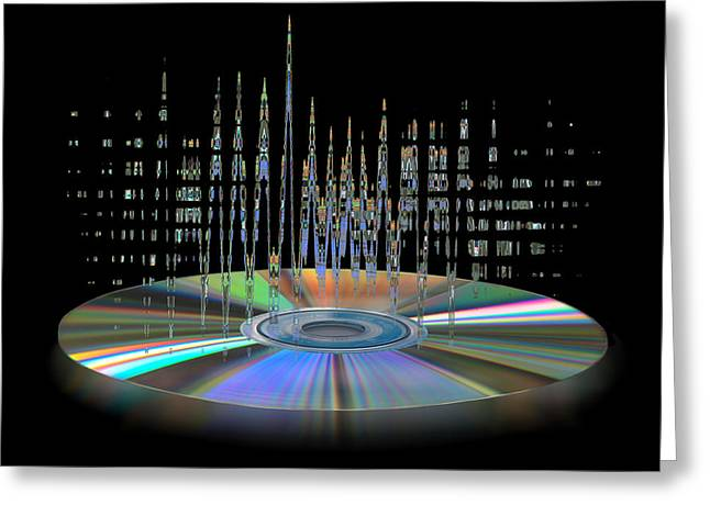 Music Cds Greeting Cards - Sound Waves Greeting Card by Gill Billington