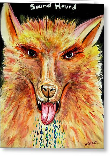 Dog Close-up Paintings Greeting Cards - SoundHound Greeting Card by Daniel Janda