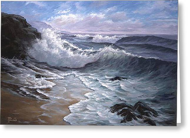 Ocean Shore Greeting Cards - Sounding Waves at Big Sur Greeting Card by Del Malonee