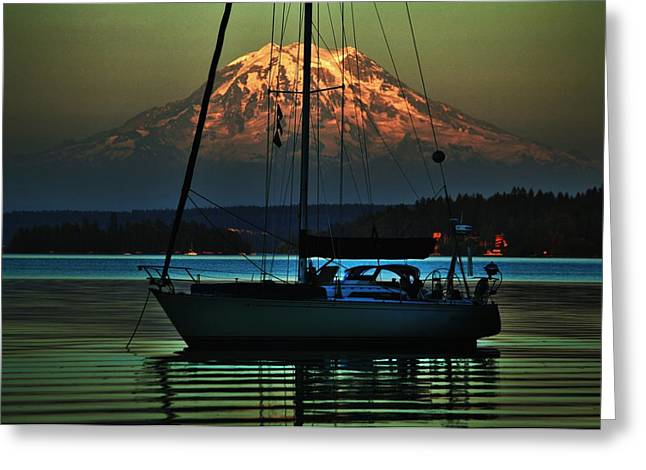Pnw Greeting Cards - Soundly Anchored Greeting Card by Benjamin Yeager