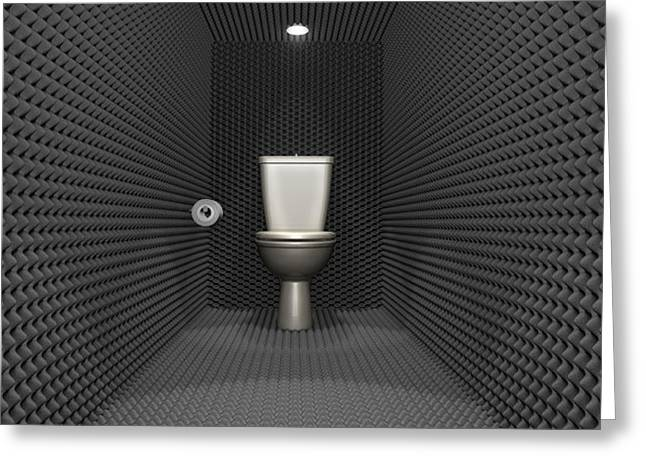 Cubicle Greeting Cards - Soundproof Toilet Cubicle Greeting Card by Allan Swart