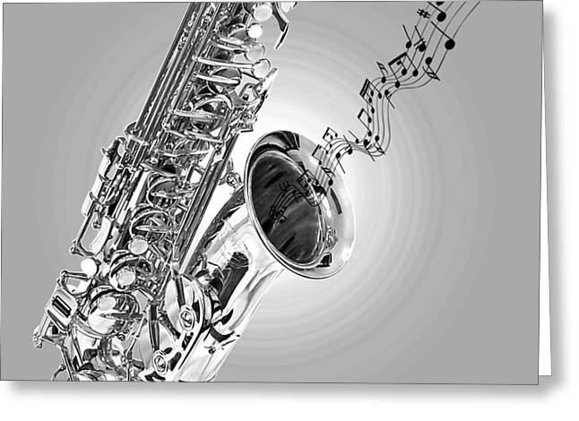 Recording Studio Greeting Cards - Sounds of the Sax in Black and White Greeting Card by Gill Billington