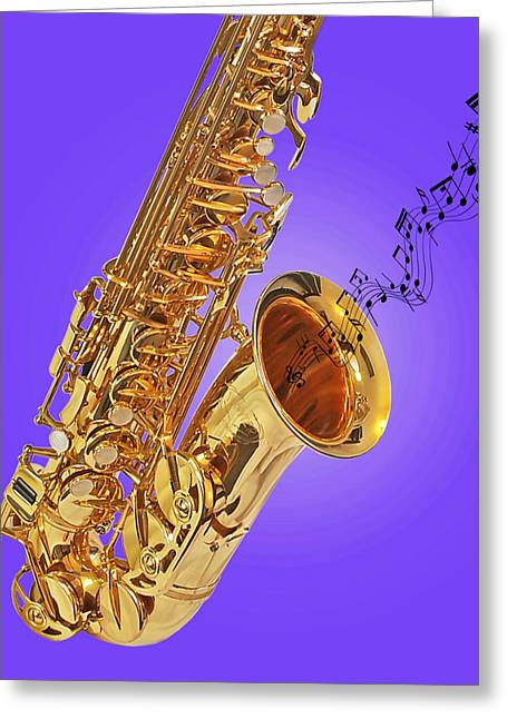 Recording Studio Greeting Cards - Sounds of the Sax in Purple Greeting Card by Gill Billington