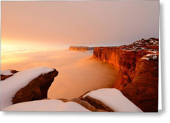 Southern Utah Greeting Cards - Grand View in Fog Greeting Card by Dustin  LeFevre