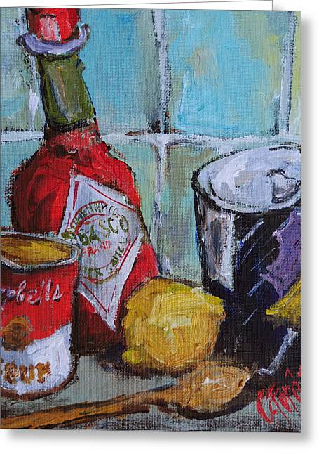 American Food Paintings Greeting Cards - Soup Kitchen Greeting Card by Carole Foret