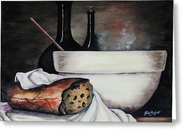 Loaf Of Bread Greeting Cards - Soup Kitchen Greeting Card by Ruth Bodycott