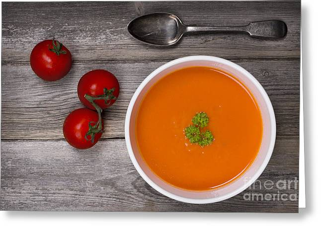 Menu Greeting Cards - Soup on wood table Greeting Card by Jane Rix