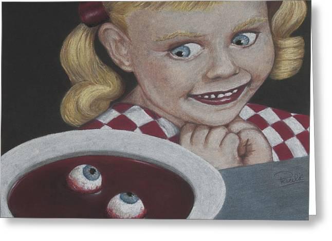 Creepy Pastels Greeting Cards - Soup Greeting Card by Paulie Polka