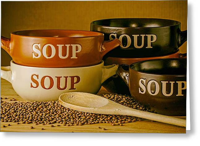 Wooden Bowls Photographs Greeting Cards - Soup Sounds Good Greeting Card by Mountain Dreams