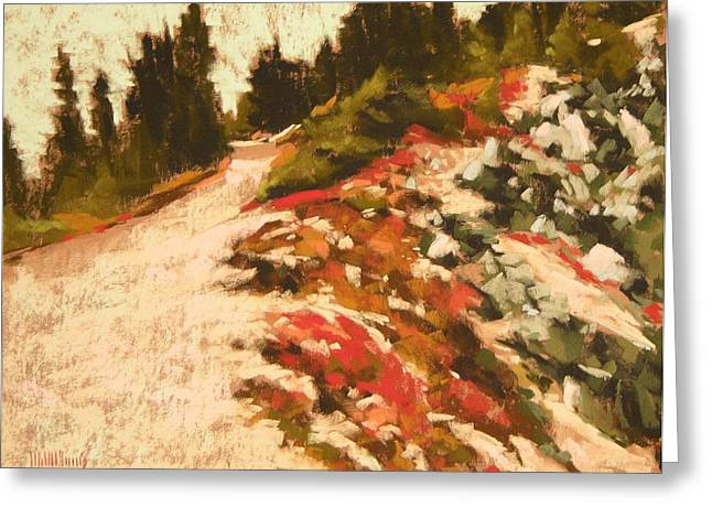 Mt Pastels Greeting Cards - Sourdough Trail Junction Sunrise Mt Rainier Greeting Card by Mary McInnis