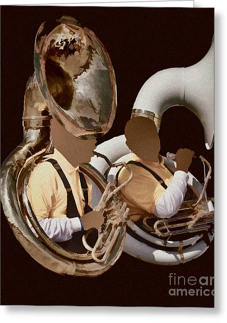 Marching Band Greeting Cards - Sousaphone Tuba Player Greeting Card by Donna Van Vlack