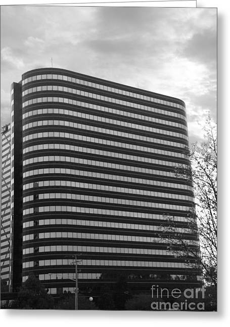 Architectur Greeting Cards - Soutfield Round Hi Rise Black and White Greeting Card by Bill Woodstock