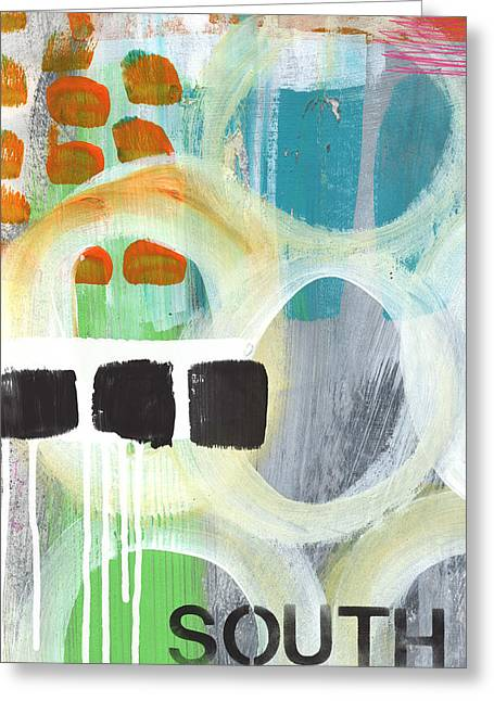 Shapes Mixed Media Greeting Cards - South- abstract expressionist art Greeting Card by Linda Woods