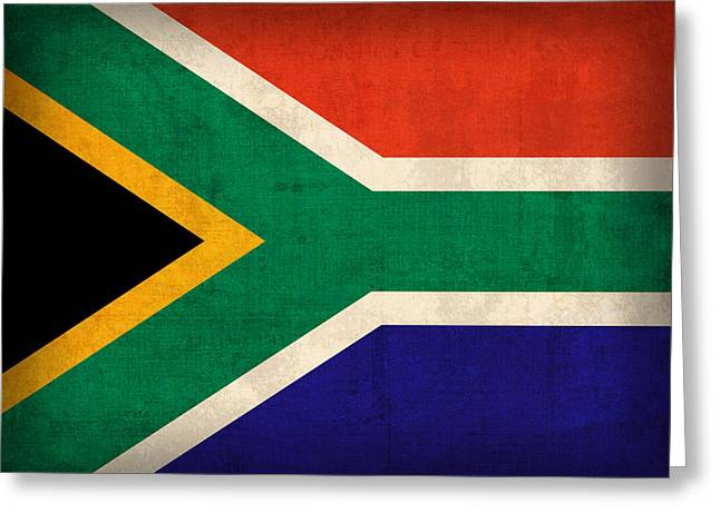 Africa Mixed Media Greeting Cards - South Africa Flag Vintage Distressed Finish Greeting Card by Design Turnpike