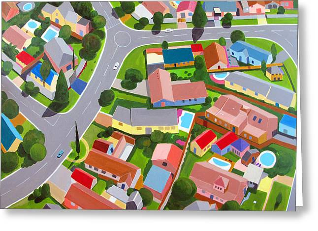 Interpretation Greeting Cards - South Africa  Suburb Greeting Card by Toni Silber-Delerive
