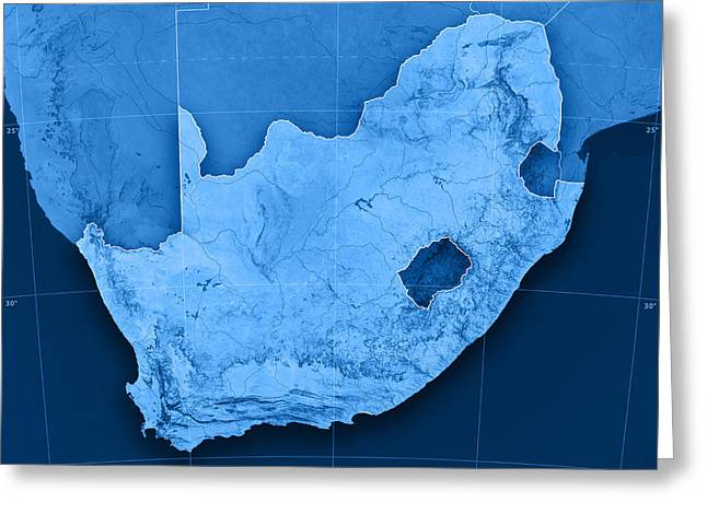 Render Greeting Cards - South Africa Topographic Map Greeting Card by Frank Ramspott
