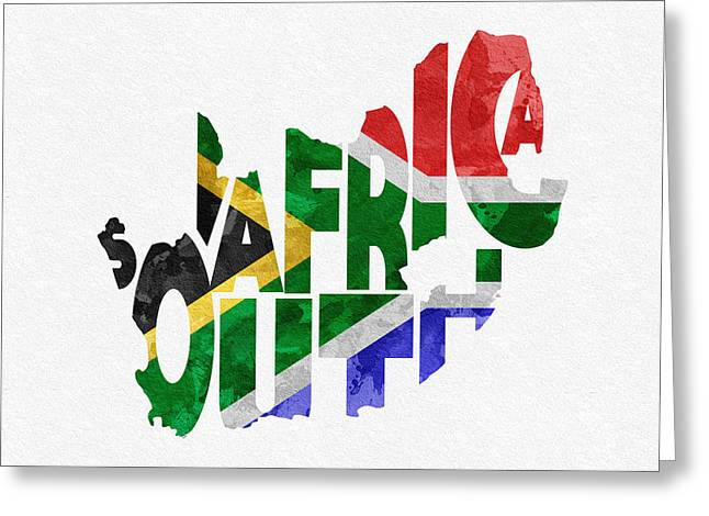 Africa Map Greeting Cards - South Africa Typographic Map Flag Greeting Card by Ayse Deniz