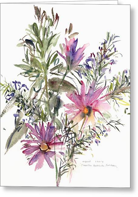 African Flower Greeting Cards - South African daisies and lavander Greeting Card by Claudia Hutchins-Puechavy
