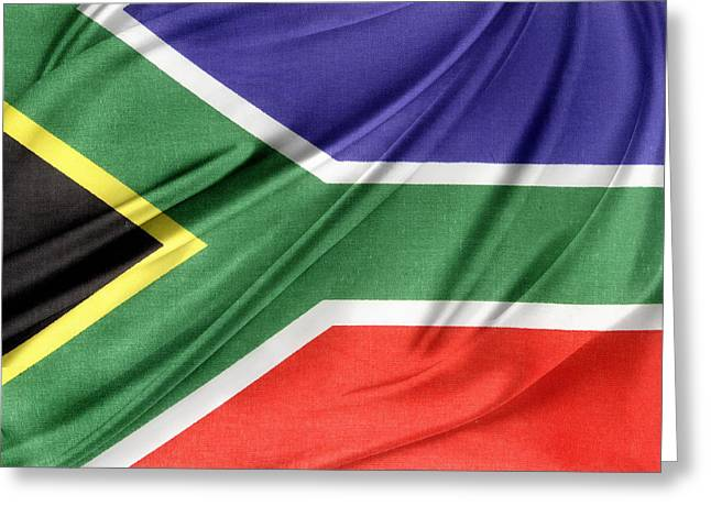 Textile Photographs Photographs Greeting Cards - South African flag  Greeting Card by Les Cunliffe