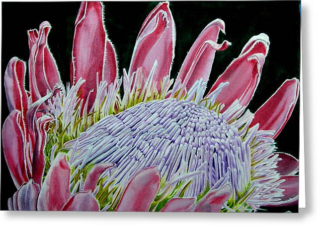 South African Flower Protea Painting Greeting Card by Sylvie Heasman