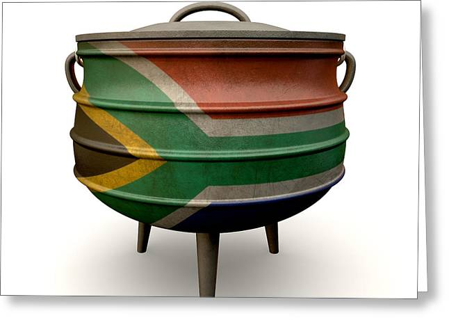 Food Digital Greeting Cards - South African Potjie Pot Painted Flag Greeting Card by Allan Swart