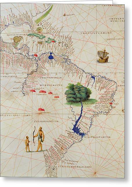 New World Greeting Cards - South America, From An Atlas Of The World In 33 Maps, Venice, 1st September 1553 Ink On Vellum Greeting Card by Battista Agnese
