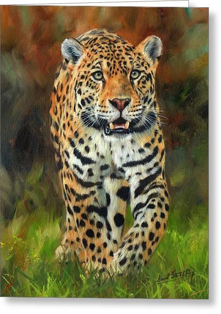 Jaguars Paintings Greeting Cards - South American Jaguar Greeting Card by David Stribbling
