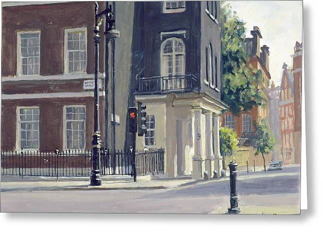 Corner Greeting Cards - South Audley Street Oil On Canvas Greeting Card by Julian Barrow