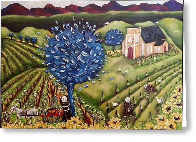 Wine Cart Greeting Cards - South Australia Vineyard Greeting Card by Annakie Jordaan