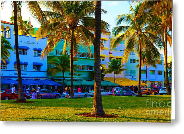Beach Photos Pyrography Greeting Cards - south Beach Afternoon Greeting Card by Dan Hilsenrath