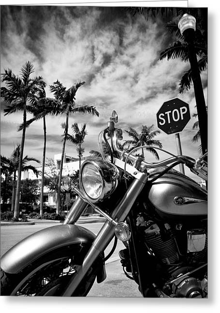 Riders Greeting Cards - South Beach Cruiser Greeting Card by Dave Bowman