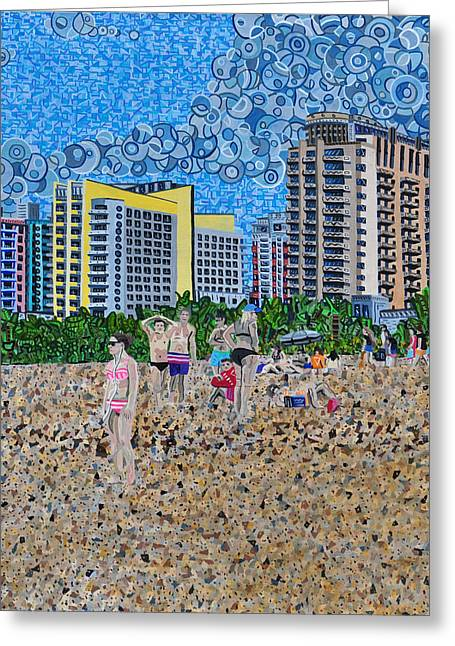 Abstract Beach Landscape Greeting Cards - South Beach - Miami Greeting Card by Micah Mullen