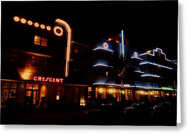 Neon Art Greeting Cards - South Beach Neon Greeting Card by Benjamin Yeager