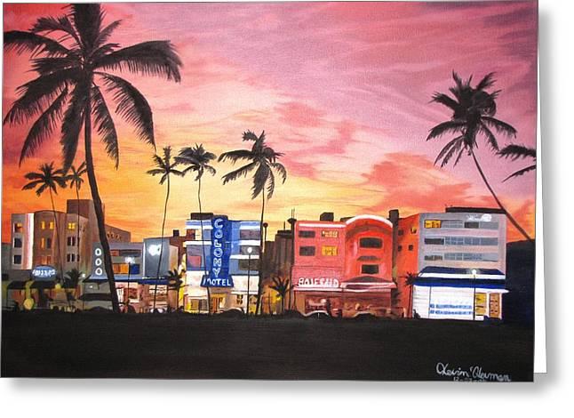 Kevin F Heuman Greeting Cards - South Beach Ocean Drive Greeting Card by Kevin F Heuman