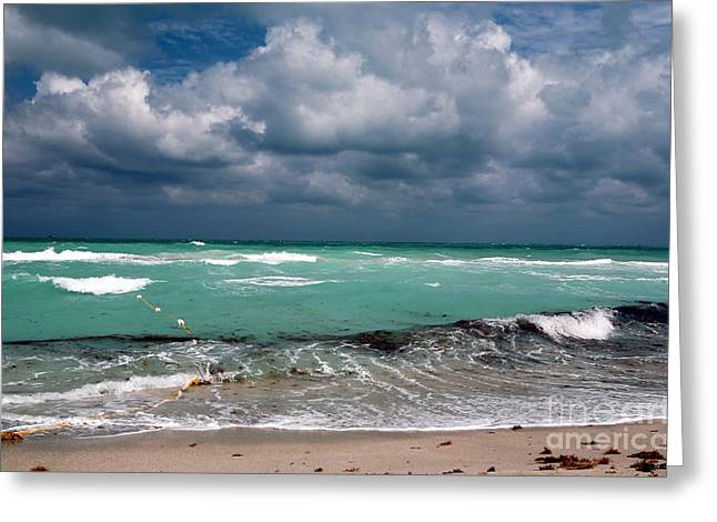 Storm Prints Greeting Cards - South Beach Storm Clouds Greeting Card by John Rizzuto