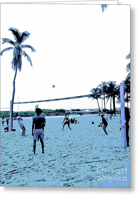 South Beach Framed Prints Greeting Cards - South Beach Volleyball faded memories Greeting Card by Diane Phelps