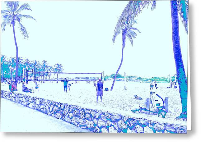 South Beach Framed Prints Greeting Cards - South Beach Volleyball in faded memories Greeting Card by Diane Phelps