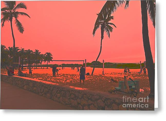 South Beach Framed Prints Greeting Cards - South beach volleyball in raspberry Greeting Card by Diane Phelps