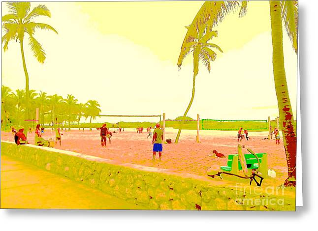South Beach Framed Prints Greeting Cards - South Beach Volleyball in Yellow Greeting Card by Diane Phelps