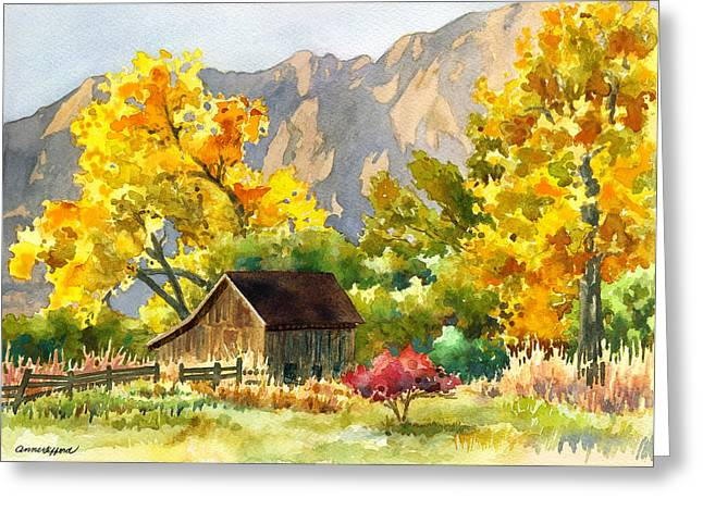 Old Barns Greeting Cards - South Boulder Barn Greeting Card by Anne Gifford