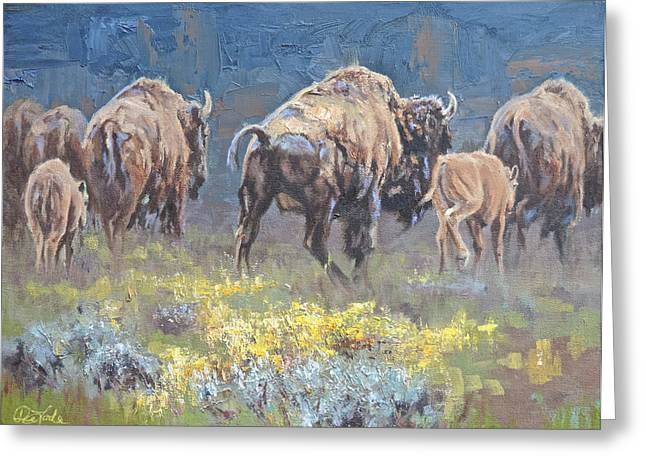 The American Buffalo Paintings Greeting Cards - South Bound Greeting Card by Mia DeLode